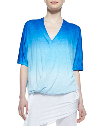 Crossover Bubble Ombre Slub Top & Marina Fold-Over Side-Tie Pants