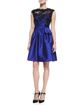 Cap-Sleeve Lace-Bodice Cocktail Dress