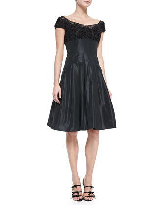 Ruffled Lace-Bodice Cocktail Dress