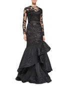 Long-Sleeve Tiered Ruffle Gown