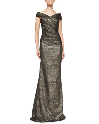 Off-the-Shoulder Metallic Gown