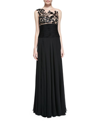 Illusion-Neck Lace-Bodice Gown