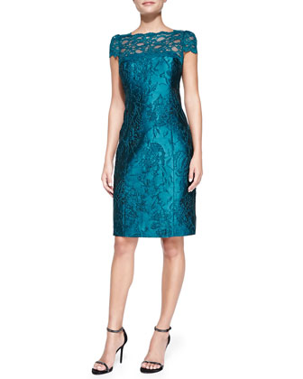 Short-Sleeve Lace Illusion Cocktail Dress