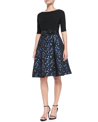 3/4-Sleeve Snake-Print Skirt Cocktail Dress