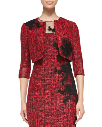 3/4-Sleeve Cropped Tweed Jacket & Lace-Side Cocktail Dress