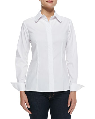 Piper French-Cuff Blouse