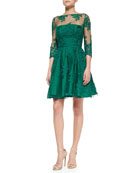 3/4-Sleeve Lace Illusion Cocktail Dress