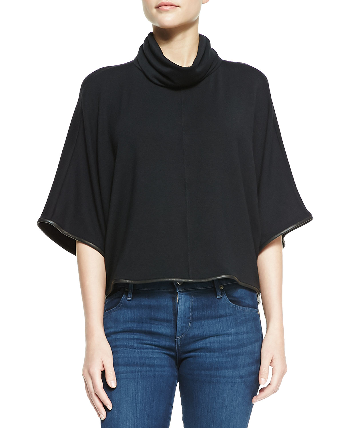 Womens Cowl Turtleneck Top With Leather Piping   Alice + Olivia   Black (SMALL)