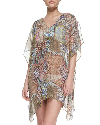 Printed-Patch Chiffon Caftan Coverup
