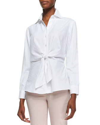 Walter Long-Sleeve Tie-Front Blouse