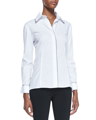 Florence Contrast-Trim Button-Down Blouse