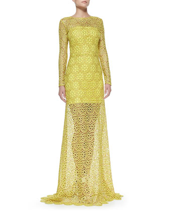 Vicenza Long-Sleeve Lace Gown