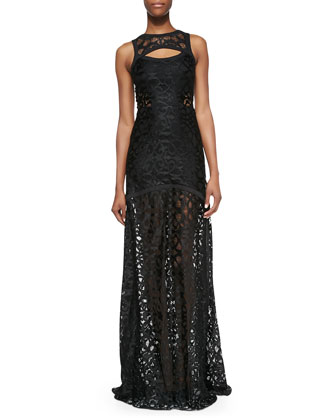 Natuna Sleeveless Cutout Lace Gown