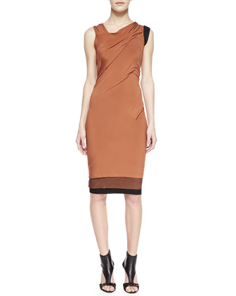 Asymmetrical Tricolor Draped Dress