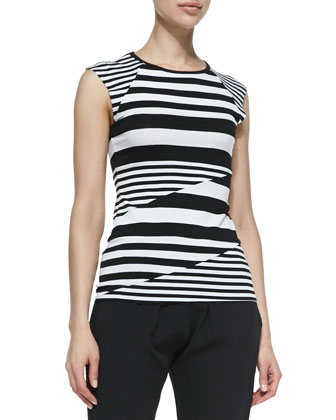 Optical Illusion Striped Cap-Sleeve Top