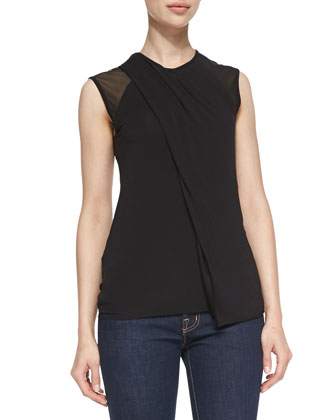 Kinetic Jersey Mesh-Detail Draped Top