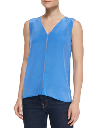 Minimal Sleeveless Silk-Front Top