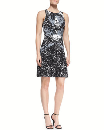 Cubist Marble-Print Jersey Dress