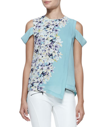 Dayne Fitted Faux-Leather Jacket, Alexia Floral-Print Cold-Shoulder Top & ...