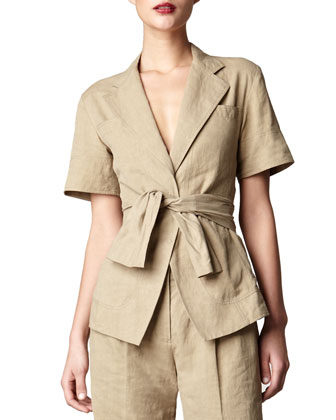 Short-Sleeve Tie-Front Jacket