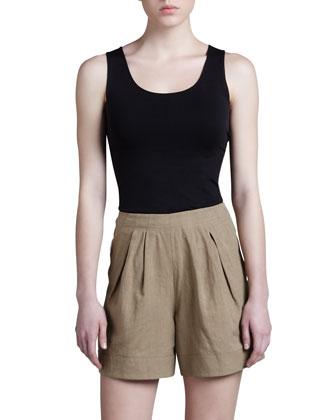 Pleated Linen-Cotton Shorts