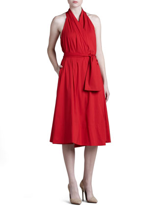 Stretch-Cotton Wrap Dress
