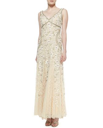 Sleeveless Beaded Lace Bottom Gown