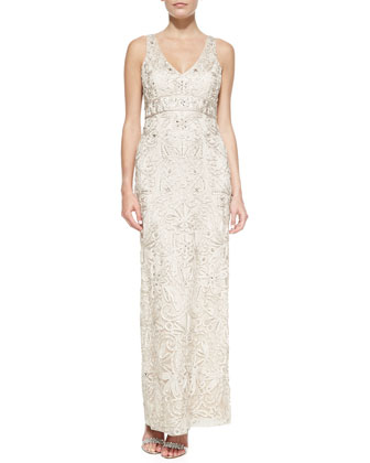 Embroidered V-Neck Gown, Antique Champagne