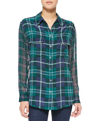 Signature Long-Sleeve Plaid Blouse
