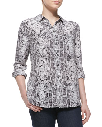 Reese Silk Snakeskin-Print Long-Sleeve Top