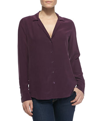 Adalyn Silk V-Neck Blouse