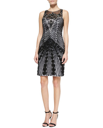 Sleeveless Illusion-Neck Cocktail Dress