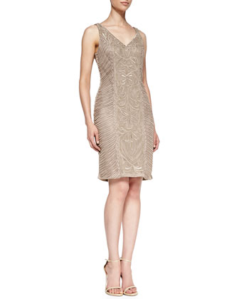 Beaded-Pattern Cocktail Sheath Dress