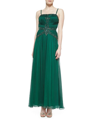 Strapped Beaded-Bodice Gown