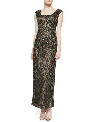Cap-Sleeve Beaded Metallic Lace Gown