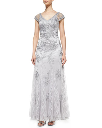 Cap-Sleeve Lace Appliqu?? Gown