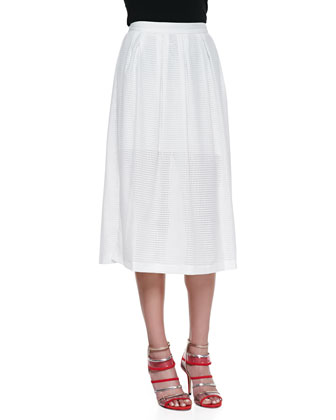Piper Open-Weave Mesh Skirt, Bone