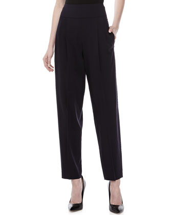 Wool-Blend Stretch Trousers, Ink