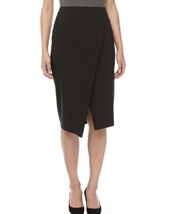 Crepe Wrap Pencil Skirt
