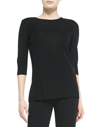 3/4-Sleeve Knit Top, Black, Women's