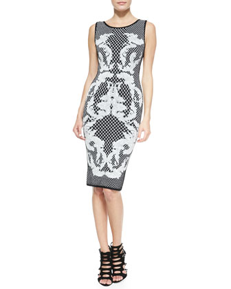 Printed Jacquard Sheath Dress