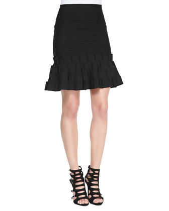 Banded Crisscross High-Neck Top & Above Knee Knit Flare Skirt