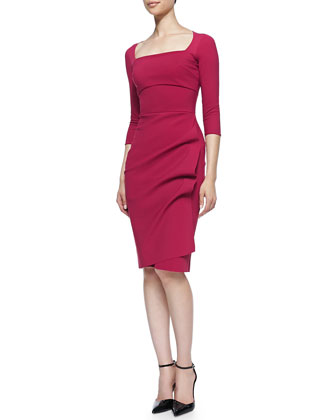 Amy 3/4-Sleeve Sheath Dress, Garnet
