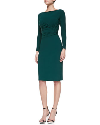 Camelia Long-Sleeve Draped-Waist Cocktail Dress