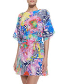 Lollypop Silk Printed Tunic Coverup