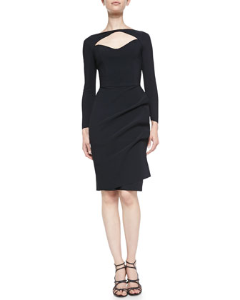 3/4-Sleeve Open-Neck Cocktail Dress