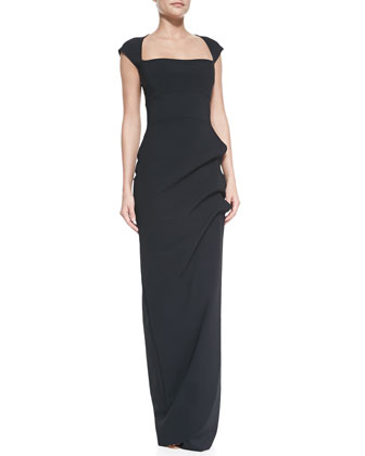 Ablliz Cap-Sleeve Square-Neck Column Gown
