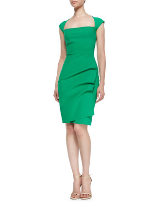 Liz Cap-Sleeve Ruched Dress