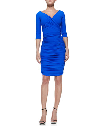 Marilena 3/4-Sleeve Ruched V-Neck Cocktail Dress