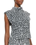 Uprising Leopard-Print Stand-Collar Top